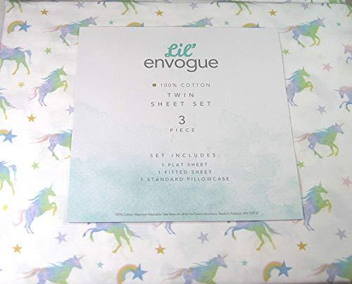 (Lil Envogue 3 Pc. Twin Size Sheet Set Unicorns 100% Cotton)