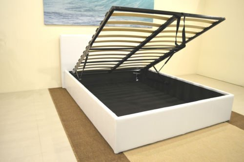 Faux Leather Storage Ottoman Bed Frames In Black Brown White Single