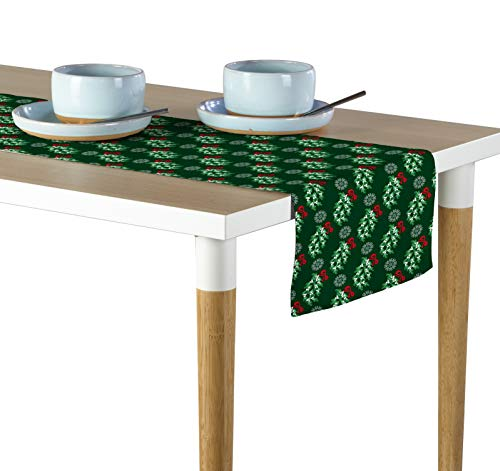 Fabric Textile Products Mistletoe & Snowflakes Table Runner 12