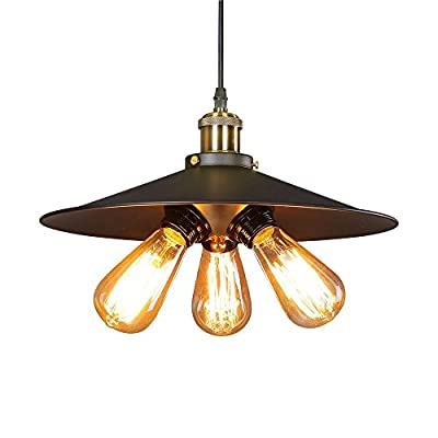 Efine Minimalist Lofe 3 Lights VIntage Rustic Hanging Pendant Light with Metal Black 14-inch Lampshade and 59-inch Adjustable Wire Use for Kitchen Bar Warehouse Farmhouse