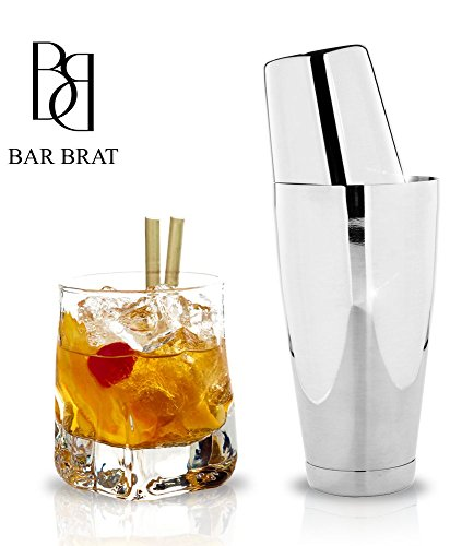 4-Piece-Boston-Shaker-Bar-Set-by-Bar-Brat--Bonus-130-Cocktail-Recipes-ebook-Bonus-Jigger-Mix-Any-Drink-To-Perfection
