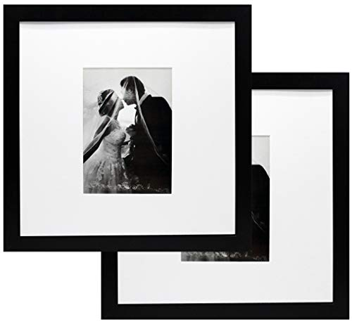12x12 Black Wood Gallery Picture Frame with 5x7 Mat - Pack of Two Frames - Wide Molding - Great for Scrapbooking - Includes Both Attached Hanging Hardware and Desktop Easel - Display Pictures 12 x 12 (5x7 Hanging Black Picture Frames)
