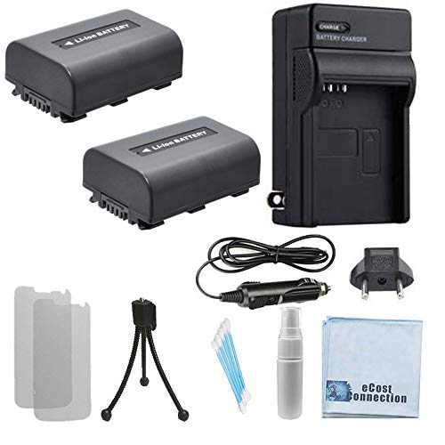 (2 NP-FH50 Batteries, AC/DC Charger for Home/Car Bundle for Sony DCR-HC20, HC21, HC26, HC28, HC30 HC32 HC36 HC38 HC40 HC42 HC46 HC48 HC65 HC85 HC96 Camera Handycam and Many more + eCostConnection Kit)