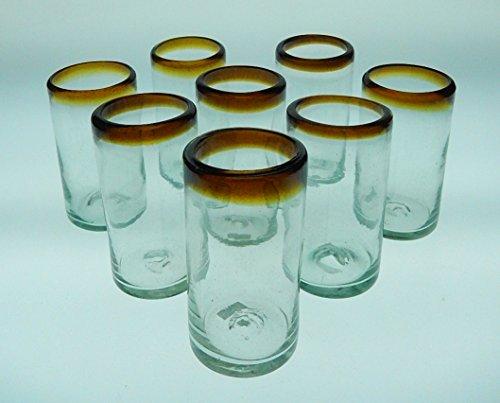 Mexican Glasses Amber Rim Tumblers, Set of 8, 16 Oz ()