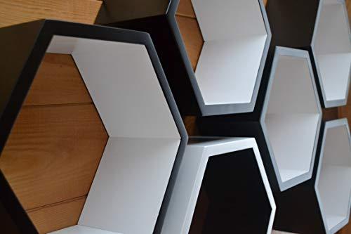Set of 8 shelves,floating shelves,hexagons on the wall,suspended shelves,flush-mounted shelves,wooden shelves