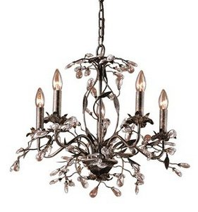 Elk 8053/5 5-Light Chandelier In Deep Rust and Crystal Droplets from ELK