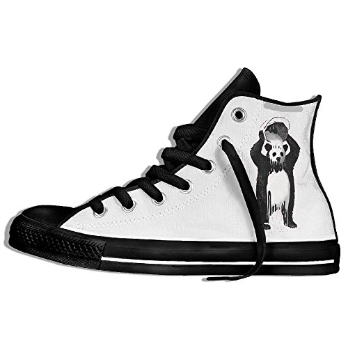 Cute Panda Skull Fashion Hi-top Strap Classic Printing Canvas Shoes Hip Hop Universal Comfortable Wear-resistant (Hip Hop Clothing Shoes)