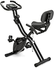 LANOS Workout Bike For Home - 2 In 1 Recumbent Exercise Bike and Upright Indoor Cycling Bike Positions, 10 Lev