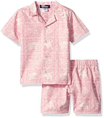 Reyn Spooner Boys' Toddler Cabana Shirt & Short Set, Pink, 3T