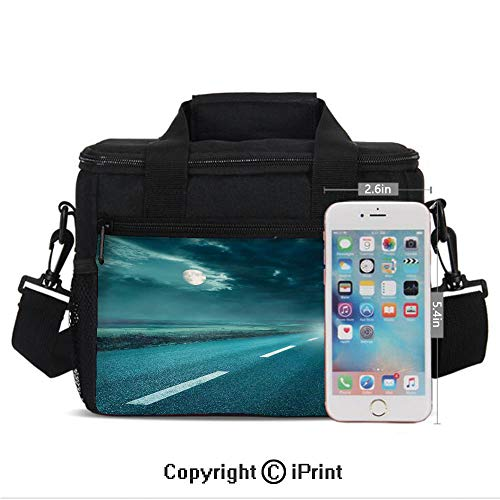 Insulated Lunch Box Highway Road to Hell under Storm Clouds Asphalt Twilight Terror Image Artwork Print Portable Lunch Bag Reusable Carry Boxes Cooler Tote Bag for School Work Office Picnic Gym,Blue