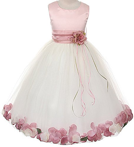 (Satin Rose Bodice Flower Girl Pageant Petal Dress: RoseTop/Ivory/Rose - 6)