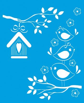 21cm x 17cm Reusable Flexible Plastic Stencil for Graphical Design Airbrush Decorating Wall Furniture Fabric Decorations Drawing Drafting Template - Birds Twitter House Tree Branch Litoarte CAD-STM-110