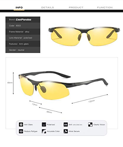 Night Driving Glasses Anti Glare Polarized HD Vision Sunglasses UV400 for Safety Car,Metal Frame Yellow Lens