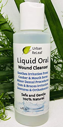 Urban ReLeaf Liquid Oral Wound Cleanser ! Soothe Irritation. Speed Healing. 100% Natural Sea Salt Soak. 4 oz, Ready to use. Dental Work, Braces, Mouth, Gum and Canker sores, Orthodontics, dentures.