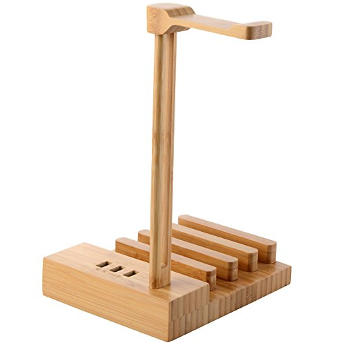 Ames Hanger (Headphone Stand with Phone Charge, Bamboo Wooden Headphone Mounts USB Charging Port for Smartphone Tablets Output With 5V 3A Holder Stand)