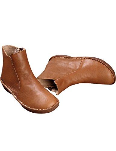 1 Marron vintage Chaussures cuir Bottes Femmes éclair Youlee Fermeture Style en SqCHpnwz