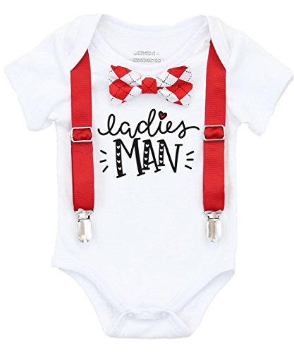 Noah's Boytique Baby Boy Valentines Day Outfit with Red Argyle Bow Tie Red Suspenders Ladies Man Cute First Valentines Shirt 6-12 -
