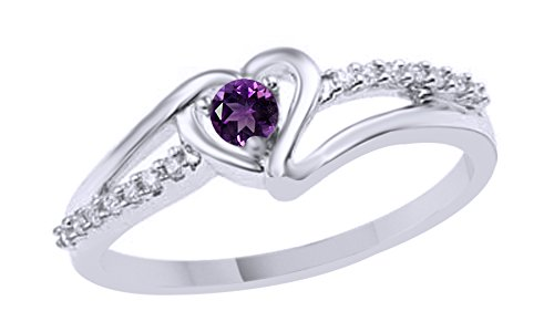 - Simulated Amethyst & White Natural Diamond Accent Heart Promise Ring in 925 Sterling Silver