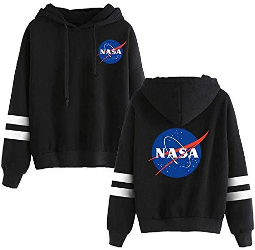 EmilyLe Women NASA Logo Hoodie National Space Administration Fashion Sweatshirt (2XL,Black-3)