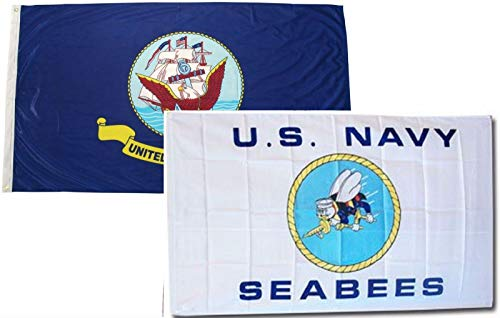 ALBATROS 3 ft x 5 ft Set U.S. Navy Ship with Navy Seabees White Flags Flag for Home and Parades, Official Party, All Weather Indoors Outdoors