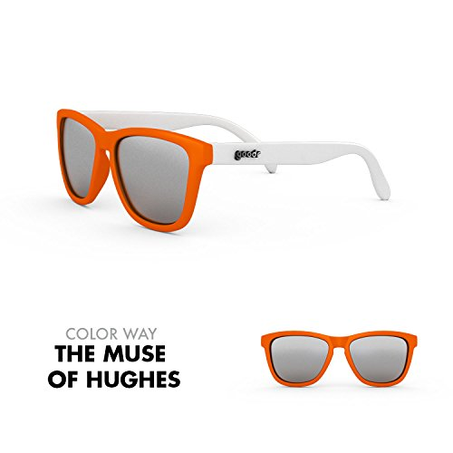goodr RUNNING SUNGLASSES - (Orange & White w/ Chrome - Lens Chrome Sunglasses