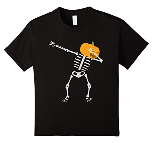 Kids Dabbing Skeleton T-shirt Pumpkin Funny 6 Black (Halloween Tshirts For Kids)