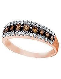 10K Rose Gold Brandy Diamond Chocolate Brown Stunning Eternity Ring 1/2 Ctw.
