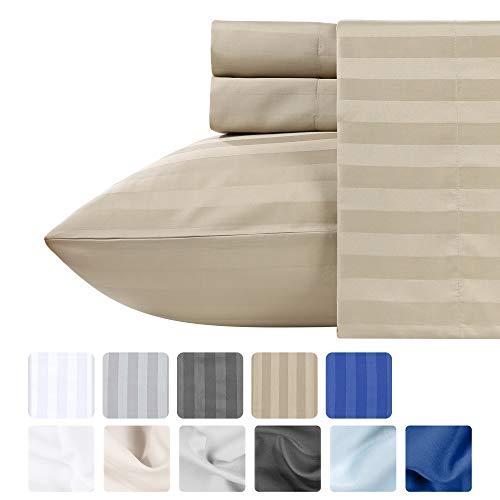 Premium Quality 500 Thread Count 100% Pure Cotton Sheets - 4Piece Khaki Color Queen Size Damask Stripe Long-Staple Combed Cotton Sheet Set for Bed Fits Mattress Upto 18'' Deep Pocket, Sateen Set (Fieldcrest Luxury Sheet Set)