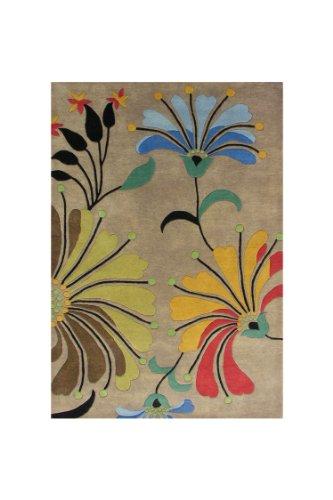 ZnZ Rugs Gallery, 9071_5x8, Hand Made Dark Beige New Zealand Blend Wool Rug, 1, Black, Rust, Blue, Green Olive, 5x8' ()