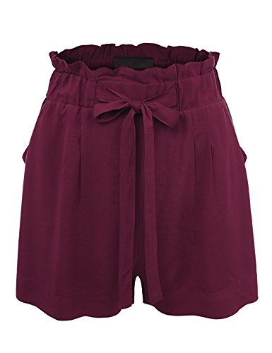 Lock and Love WB1600 Womens Casual Elastic Waist Summer Shorts with a Belt L Burgundy