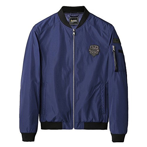 BENNINGCO Thickened Baseball Apparel Flight Jacket(Blue,XL)
