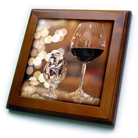 3dRose Stamp City - Still Life - Photograph of a Glass of red Wine and Some Tasty Toffee in a Glass. - 8x8 Framed Tile (ft_302461_1)