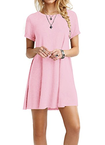 (TINYHI Women's Swing Loose Short Sleeve Tshirt Fit Comfy Casual Flowy Tunic Cotton Dress Pink,Large)