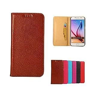 20150511 fina piel de oveja ranura cuero genuino del bolso del teléfono con el caso del soporte para Samsung s6 (colores surtidos) , Blue