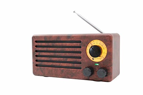 Retro Desktop FM Radio and Portable Stereo Bluetooth Speakers with Enhanced Bass Resonator, FM Radio, Built-in Mic, 3.5 mm Audio Jack, Support TF card/Micro SD Card and USB Input, up