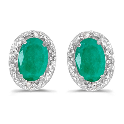 14k-White-Gold-Oval-Emerald-And-Diamond-Earrings