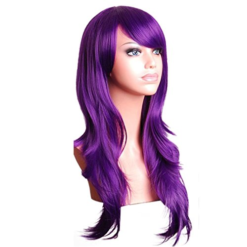 Vibola Fashion Sexy Long Women Fashion Synthetic Wavy Cosplay Party Full Wigs (Purple) (Sexy Updo)