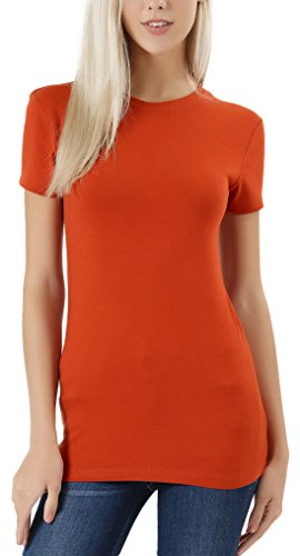 ToBeInStyle Women's Slim Fit Crew Neck S.S. Longline Tee - Copper - Small ()