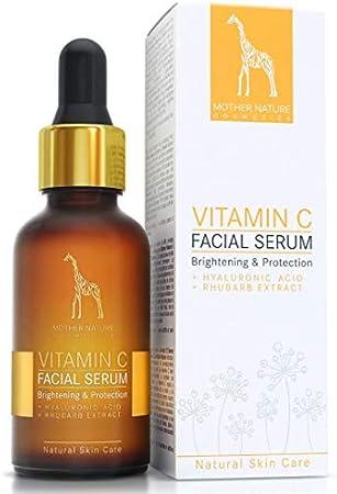 Serum Facial de Vitamina C con Hialurónico y Extracto de Ruibarbo - 30ml MADE IN GERMANY - Tratamiento Facial Intensivo Antiedad contra Arrugas y Marcas