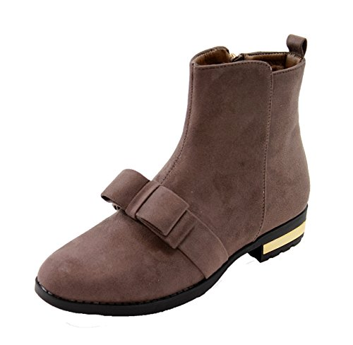 New Womens Ladies Flat Ankle Boots Casual Bow Side Zip Low Heel Comfy Shoes Brown MgaJShN19