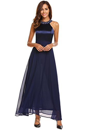 Halter Neck Evening Gowns (ANGVNS Women's Halter Neck Ruched Bust Evening Dress, Blue, S)