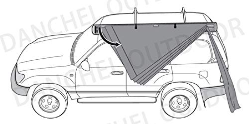 DANCHEL OUTDOOR 270 Degree Sector Shaped car Side foxwing Awning (Khaki, Dia. 8.2ft Left) by DANCHEL OUTDOOR (Image #6)