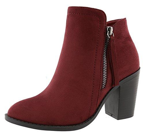 TOP Moda Women's Closed Toe Side Zipper Chunky Stacked Block Heel Ankle Bootie (8.5 B(M) US, Wine)