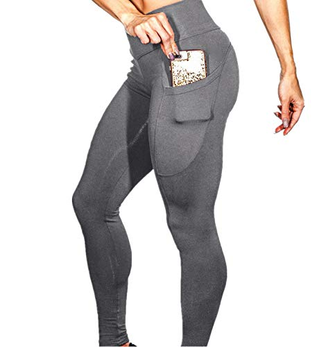 (PASATO Women's Solid Workout Fitness Sports Gym Running Yoga Athletic Pants Tummy Control Stretch Yoga Leggings(Gray,XL=US:L))
