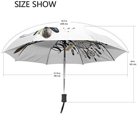 Cool Native American Indian with Moon Windproof Rainproof Automatic Foldable Umbrella,Travel Umbrella Compact Sun//Rain Hot-selling