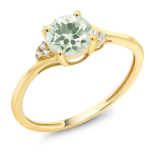 Yellow Gold Stock - 10K Yellow Gold Green Amethyst and Diamond Accent Engagement Ring (1.00 Ctw Round, Available in size 5, 6, 7, 8, 9)