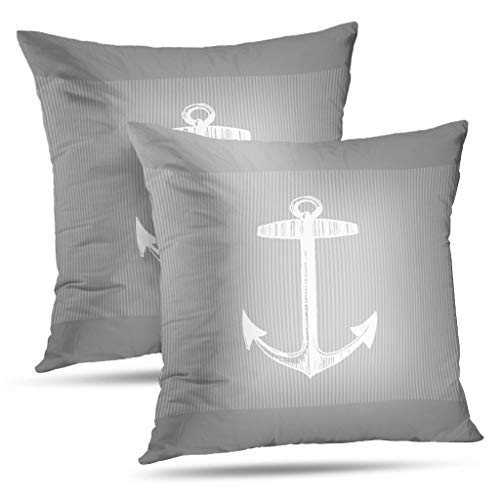 Darkchocl Set of 2 Daily Decoration Throw Pillow Covers Nautical Gray Striped Anchor Square Pillowcase Cushion for Couch Sofa or Bed Modern Quality Design Cotton and Polyester 18