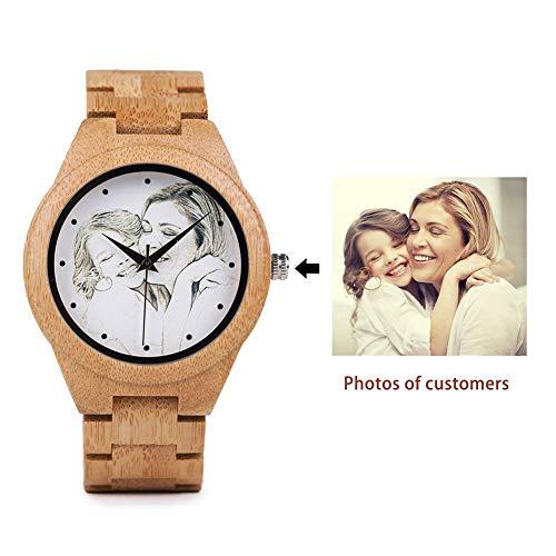 DB-WINNER Custom Men Wood Watch Handmade Analog Quartz Customized Wooden Watches Unique Design Gift (Brown)