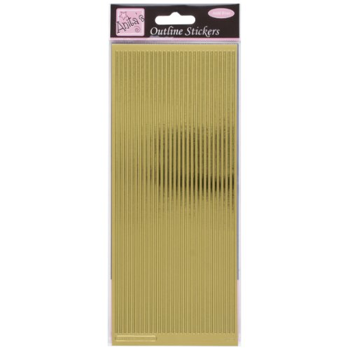 Anitas Outline Peel Off Craft Stickers - Straight Line Borders Gold