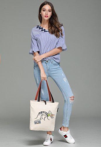 So'each Women's Listen Music Dinosaurs Canvas Handbag Tote Shoulder Bag